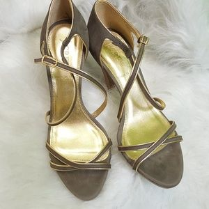 J Crew Brown strappy heels 6.5 Brown Gold